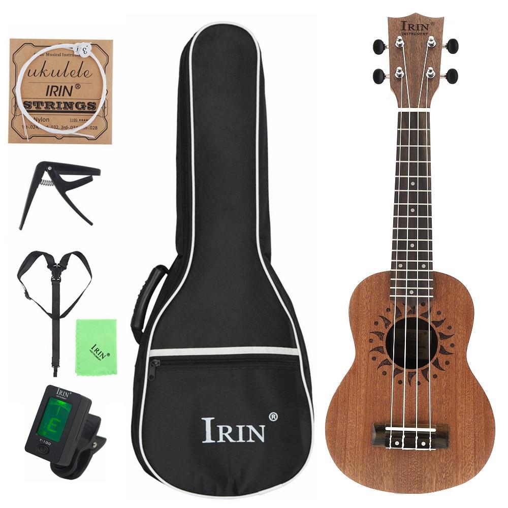 21 pouces Soprano ukulélé sapélé bois fleur trou sonore 15 frette quatre cordes guitare + sac + accordeur + ficelle + Capo + tissu + sangle