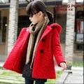 Casacos de inverno para meninas adolescentes lã VERMELHA casaco de inverno crianças outwear quente grosso tamanho 110 ~ 160 cm