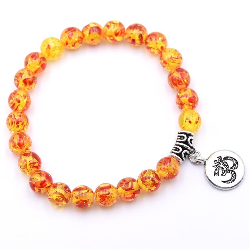 Natural Stone Strand Bracelet Yoga Chakra Mala Bracelet OM Lotus Women Men Beaded Charm Bracelet Jewelry Pulseras dropshipping - Окраска металла: ZT110-9