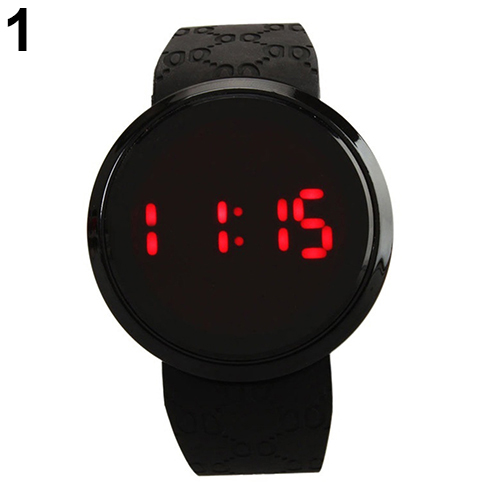 Men Fashion Waterproof LED Round Touch Screen Day Date Silicone Wrist Watch