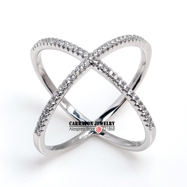 Carraton RSLH1001 Fashion 925 Sterling Silver Criss-Cross with Clear CZ Knuckle Fashion X Ring