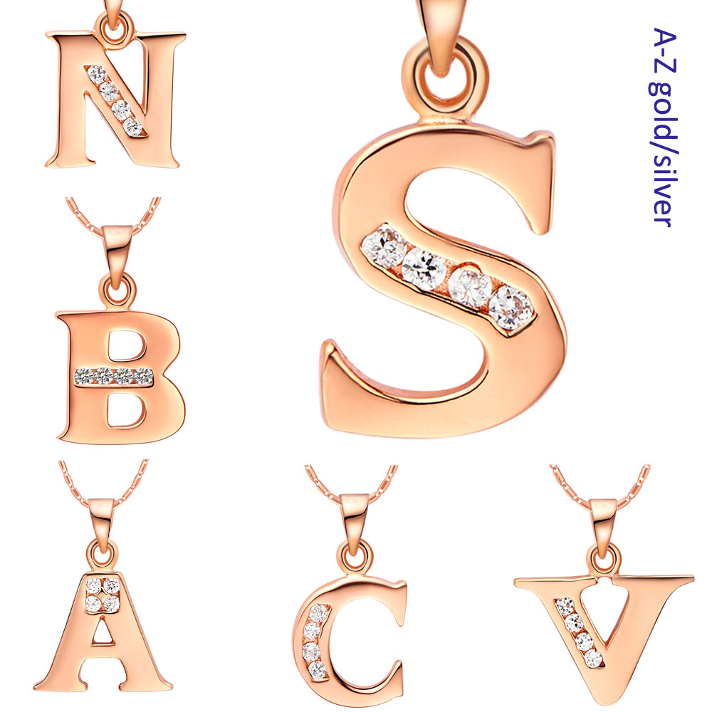 Fashion jewelry Drop shipping Letter A B C D E F G H I J K L M N O P Q I S T U V W X Y Z Rose gold-color Necklace for Women