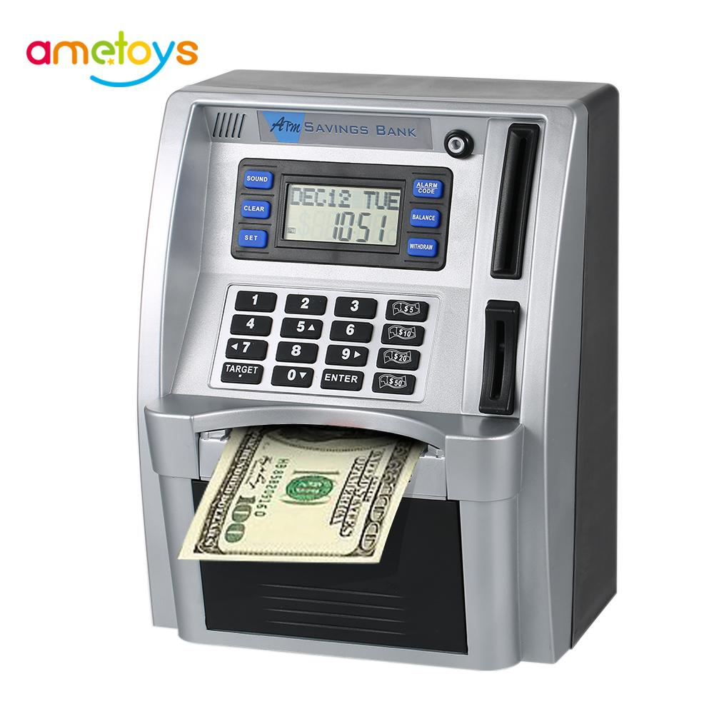 Simulation Mini ATM Safe Password Box Electronic Money Bank US Cash Bill Coin Can Saving Banks