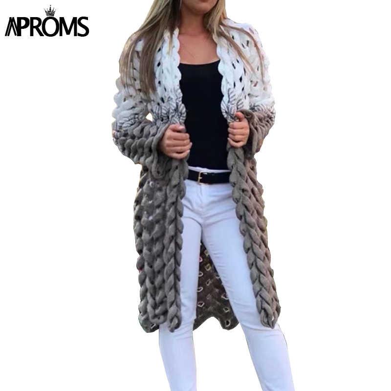 Aproms белый серый лоскутное вязаный кардиган для женщин элегантный выдалбливают с длинным рукавом Рождество свитер зимняя модная верхняя