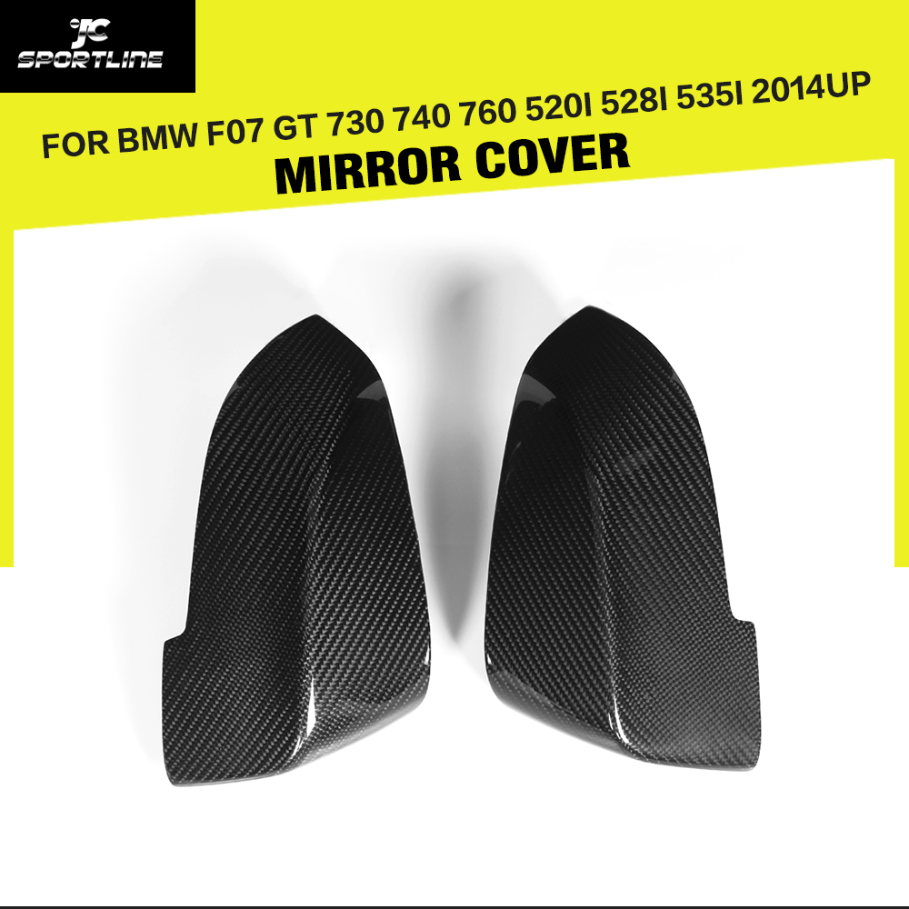 Carbon Fiber Car Side Review Mirror Caps Cover Car-Styling For BMW 5/7 Series GT 730 740 760 & 5 Series F07 GT 2014UP car styling carbon fiber side review mirror cover caps for bmw 550i 5series e60 2005 2008
