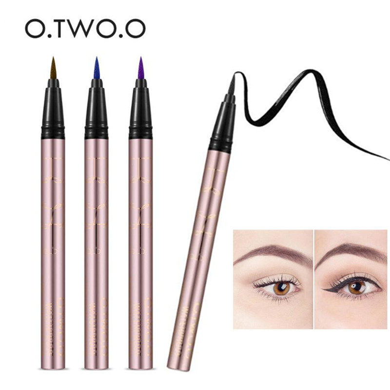 O.TWO.O 4pcs/Set 4 Colors Purple Blue Black Liquid Eyeliner Eye Make Up Super Waterproof Long Lasting Eye Liner Eyes Makeup Kit