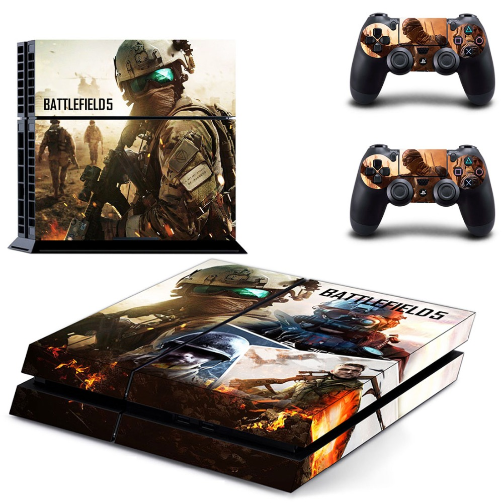 Game Battlefield V 5 PS4 Skin Sticker Decal Vinyl for Sony Playstation 4 Console and 2 Controllers PS4 Skin Sticker in Stickers from Consumer Electronics