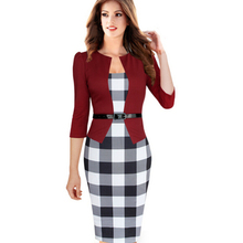Womens Elegant Faux Twinset Belted Tartan Floral Lace Patchwork Wear to Work Business Pencil Sheath Bodycon Dress