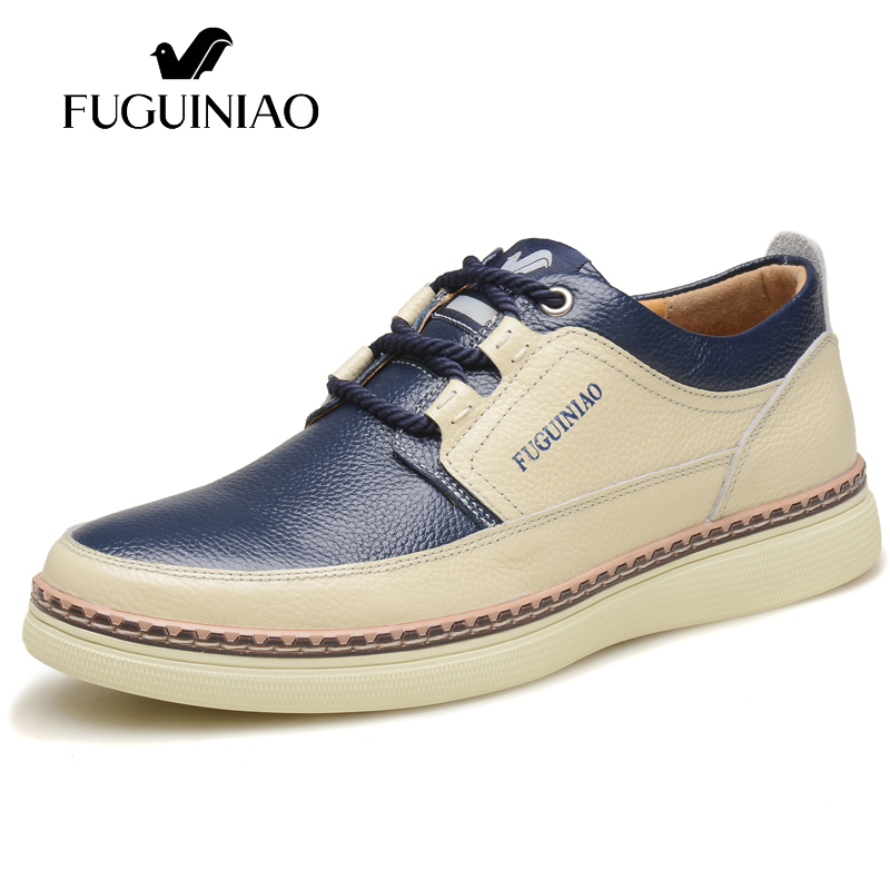 Free shipping FUGUINIAO Genuine Leather men s flat shoes boat shoes casual shoes color blue brown