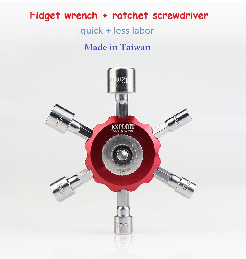 Ratchet handle wrench multifunctional ratchet screwdriver Non-slip six End Mini wrench Cross wrench ratchet