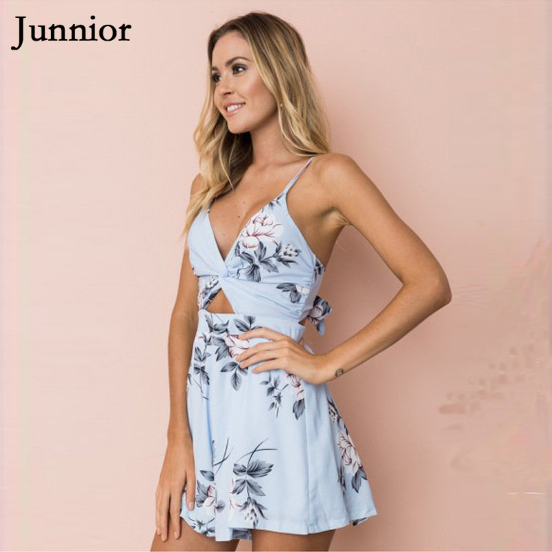 JUNNIOR Women Playsuit Sexy Chiffon Strap Romper Ladies Summer Holiday Beach V Neck Floral Print Backless Bowknot Bodysuit