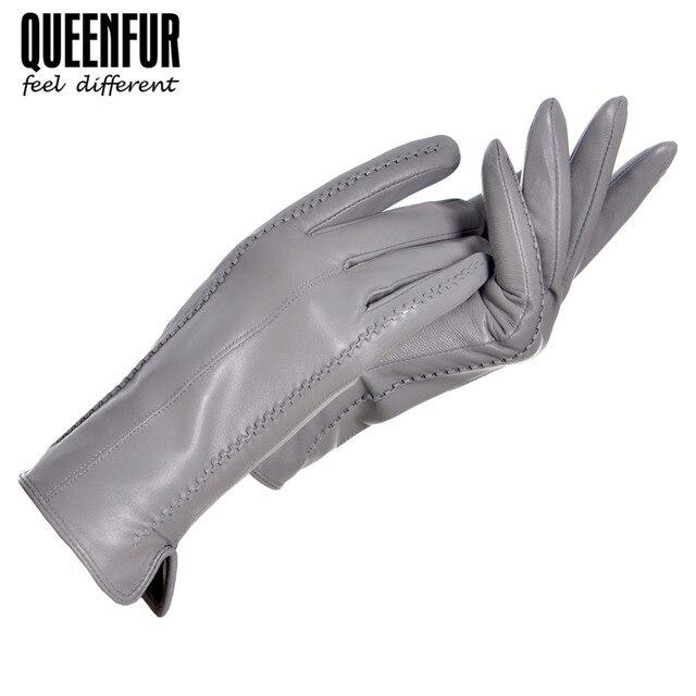 Women Winter Real Leather Gloves Fashion Genuine Sheepskin Gloves Female Goat Skin Leather Warm lined Black High-grade Gloves