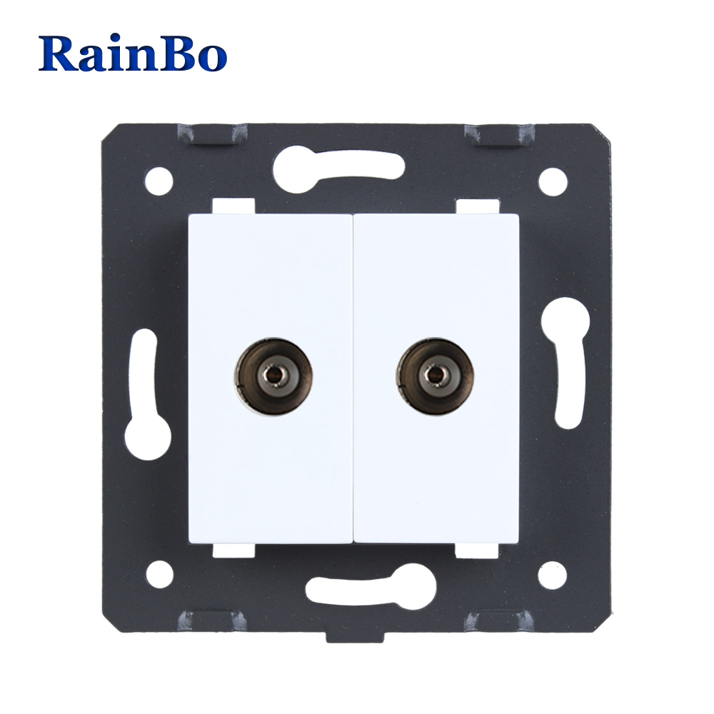 RainBo 2TV socket Parts White Plastic Materials DIY Accessory Function Key wall TV socket EU Standard A82TVW/B welaik free shipping white plastic materials diy accessory function key for phone and usb socket eu standard a8tpus