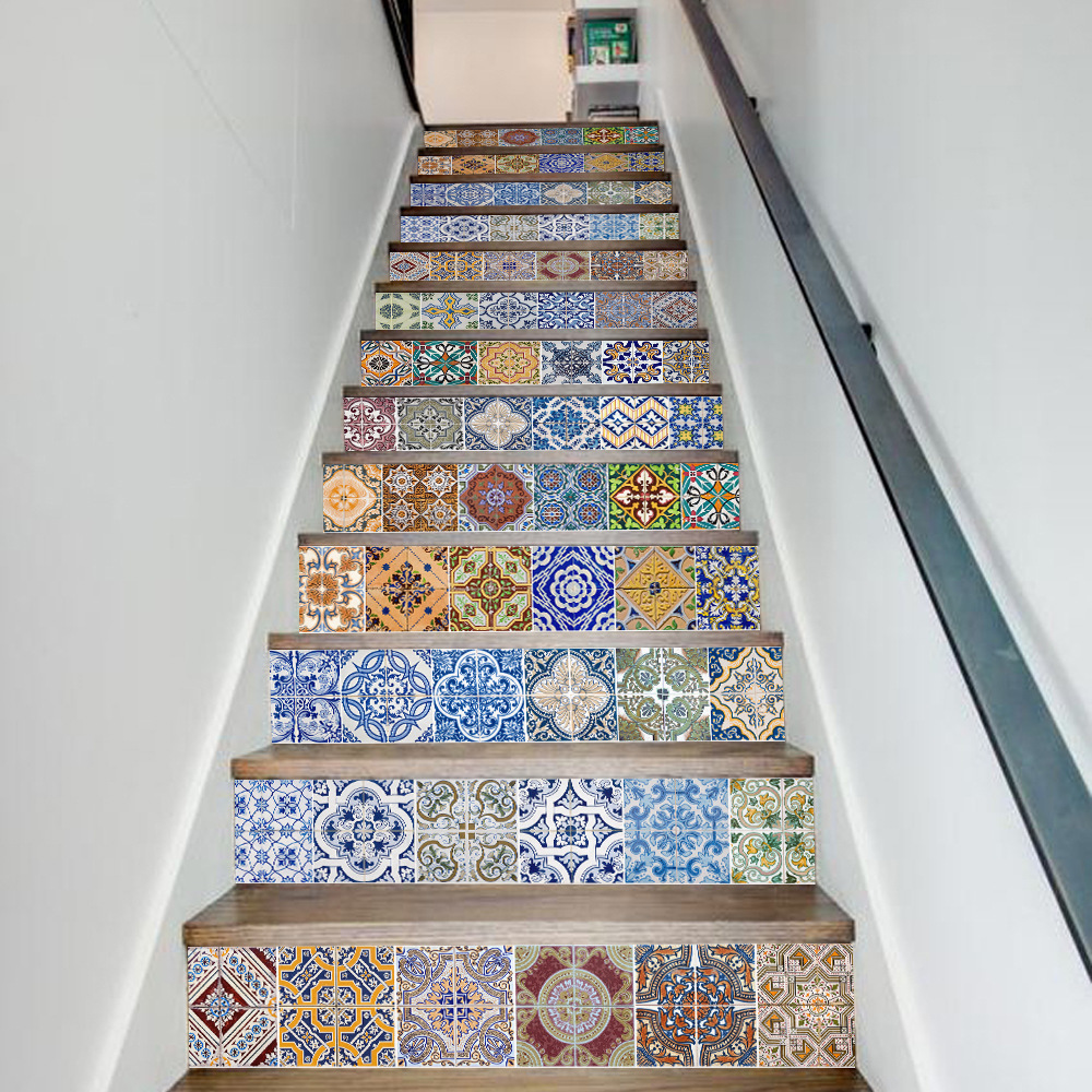 13 pcsset creative 3d diy retro ceramic tiles patter stairway 13 pcsset creative 3d diy retro ceramic tiles patter stairway stickers stairs home decoration steps mural floor wall sticker in wall stickers from home dailygadgetfo Gallery