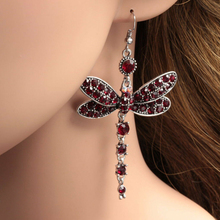 1 Pair Womens Gorgeous Colors Dragonfly Crystal Rhinestone Silver Plated Hook Earrings Female Special Design