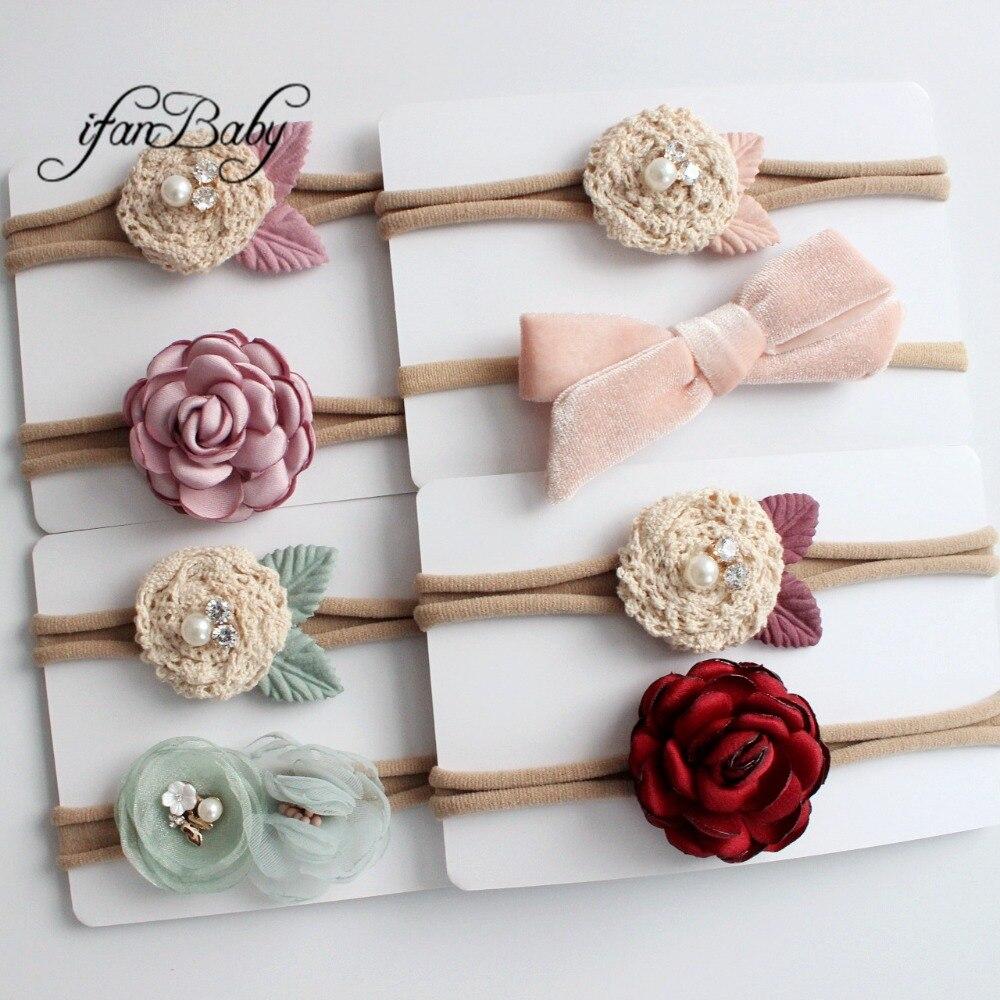 kids girl fabric flower headband nylon headband (3)