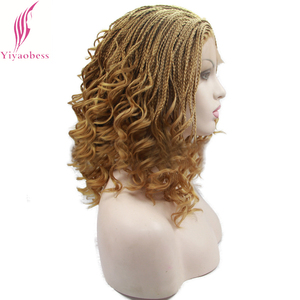 Image 2 - Yiyaobess 16inch Micro Lace Front Braid Wig Short Blonde Black Wigs For Women Heat Resistant Synthetic Hair