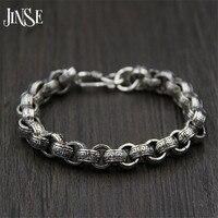 JINSE 21 см ссылка браслет-цепочка 925 серебро 9.50 мм Толщина 100% S925 Solid Тайский серебряные мужские браслеты для Женские Ювелирные изделия