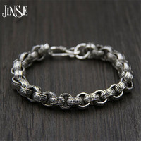 JINSE 21cm Link Chain Bracelet 925 Sterling Silver 9 50mm Thickness 100 S925 Solid Thai Silver