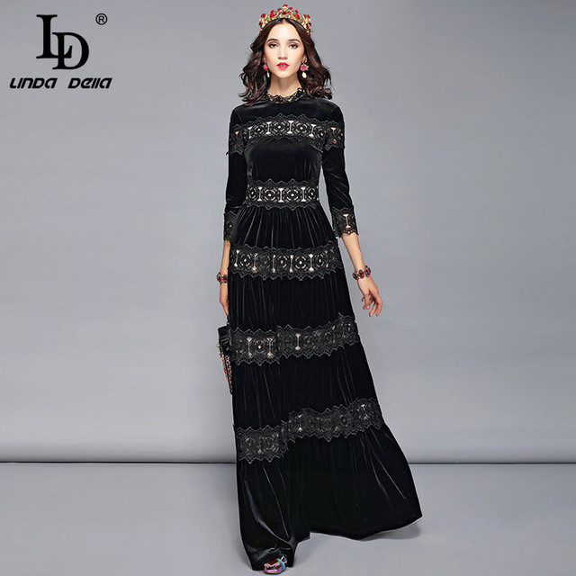 3fea4b31c8118c LD LINDA DELLA Autumn Winter Velvet Dress Women's Lace Floral Embroidery  Elegant Formal Party Dresses Solid