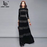 LD LINDA DELLA Autumn Winter Velvet Dress Women's Lace Floral Embroidery Elegant Formal Party Dresses Solid Long Maxi Dress