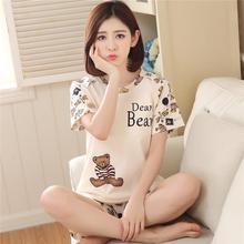 Yfashion Women Cartoon Bear Girls Pajamas Set Summer Short Sleeve Tops +Bottoms Casual Home Wear Pyjama Female