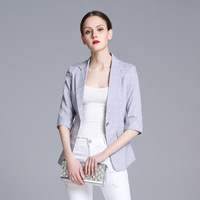 Women Elegant One Button Blazer Office Lady Ol Style Slim 3 4 Sleeve Blazers