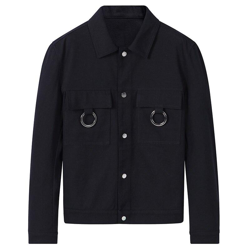 98% algodón Hombre cortavientos 2018 nuevo primavera streetwear casual streetwear un solo pecho turn down collar hombres chaquetas y abrigos - 5