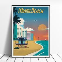 VINTAGE MIAMI BEACH pintura lienzo póster pared arte cuadros para sala de estar decoración del hogar sin marco