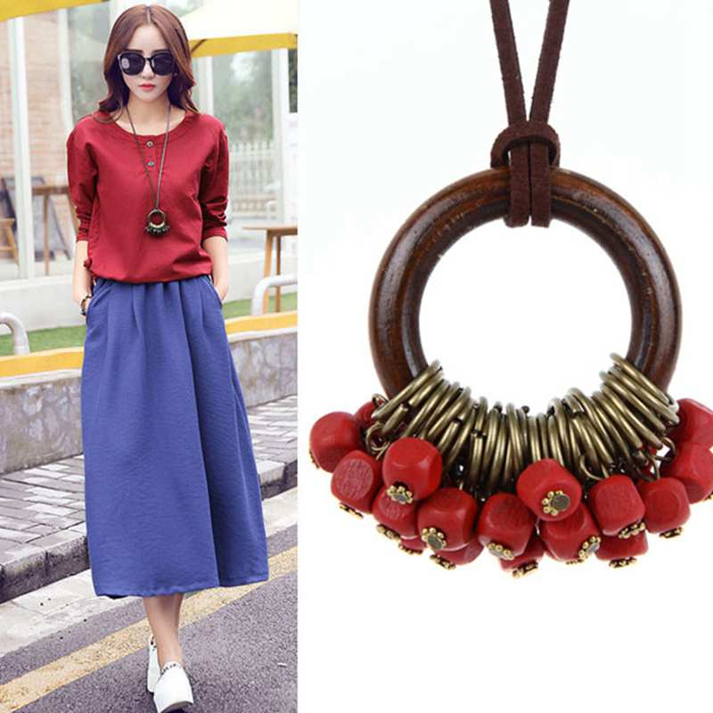 Fashion New statement necklace Necklaces Women Jewelry Wooden Beads collier collares necklace women kolye vintage maxi necklace