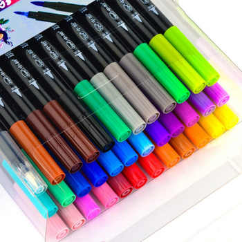 Fabric Color Brush Painted Pen Sets Calligraphy Watercolor Pens for Writing Signature Marker Stationery School Art Supplies