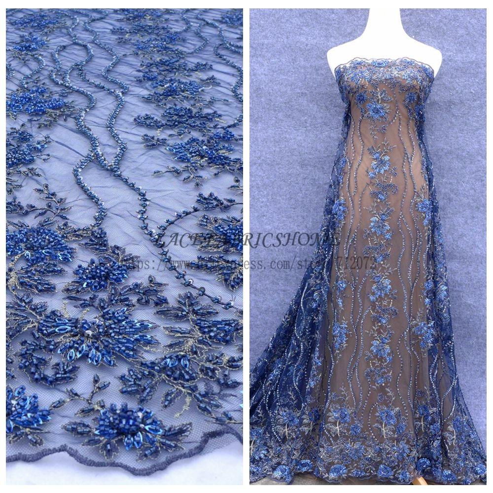 La Belleza Blue hout fashion show handmade heavy beaded wedding dress evening show dress lace fabric
