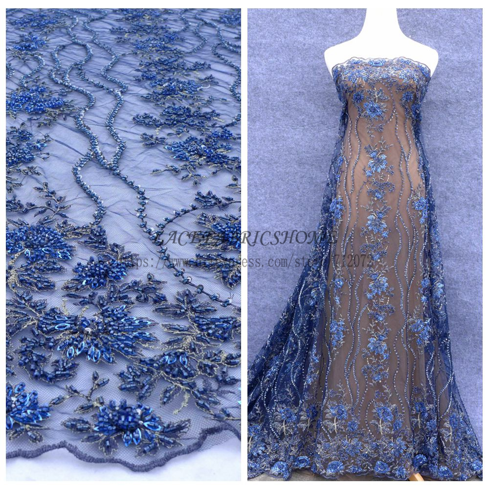 La Belleza  Blue hout fashion show handmade heavy beaded wedding dress/evening/show dress lace fabric 47'' widht-in Lace from Home & Garden    1