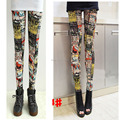 Cute Kawaii Harajuku Cat Meow Tattoo Printed Elastic Waist Leggings Pencil Casual Leisure Pants