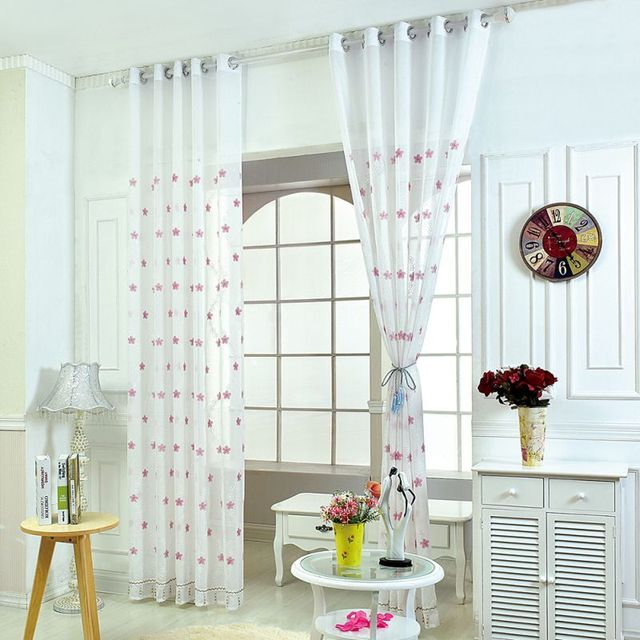 1pcs Embroidered Pens Curtains for the Bedroom Living Room Transparent  Curtains Fabric Curtains Tulle Curtains