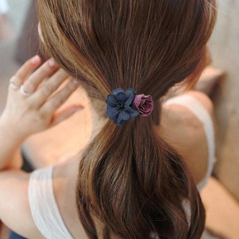 Hot Sale 4 Colors Cloth Flower Shape Popular Charming Women Girls Rubber Bands Elastic Hair Rope