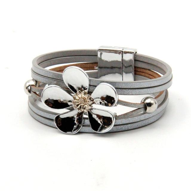 ZG многослойные кожаные браслеты для женщин Femme 4 Цвета Магнит Застежка Цветок богемный стиль браслет женский ювелирные изделия