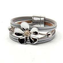 ZG  Multilayer Leather Bracelets for Women Femme 4 Colors Magnet Clasp Flower Bohemian Style Bracelet Female Jewelry