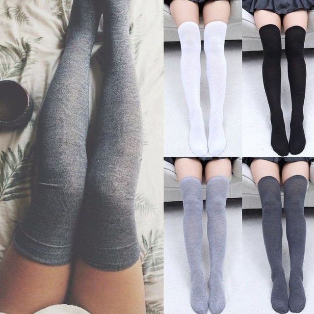 6cd7aa2a6 Women Knit Cotton Over The Knee Thigh High Stockings Black Gray White Solid  Stocking New Autumn