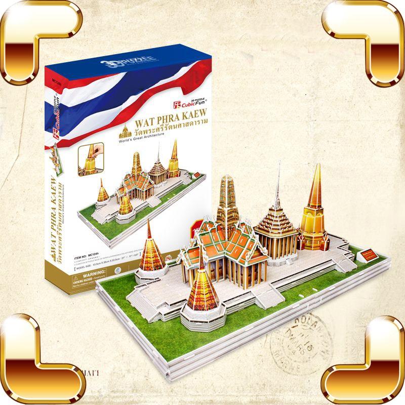 New Arrival Gift Wat Phra Kaew 3D Puzzles Model Building High Level Puzzle Game DIY Structure Adult Assemble Toys  Decoration wat phra kaew cubicfun 3d educational puzzle paper