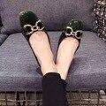 2017 Nueva Llegada de Los Zapatos Planos Resbalón en los Zapatos de Dedo Del Pie Cuadrado Verde Marrón Charol Confort Scarpe Donne