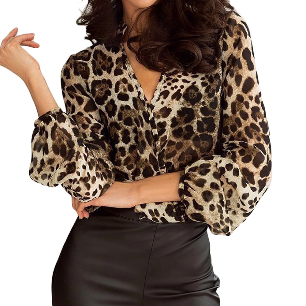 Stylish Ladies Loose Blouse Shirt Womens V-Neck Leopard Print Tops And Blouses Female Long Sleeve Top