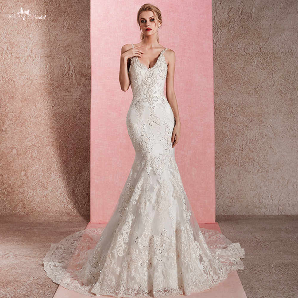 RSW1464 Real Pictures V Back Neckline Sequin Beading lace Mermaid Wedding Dress