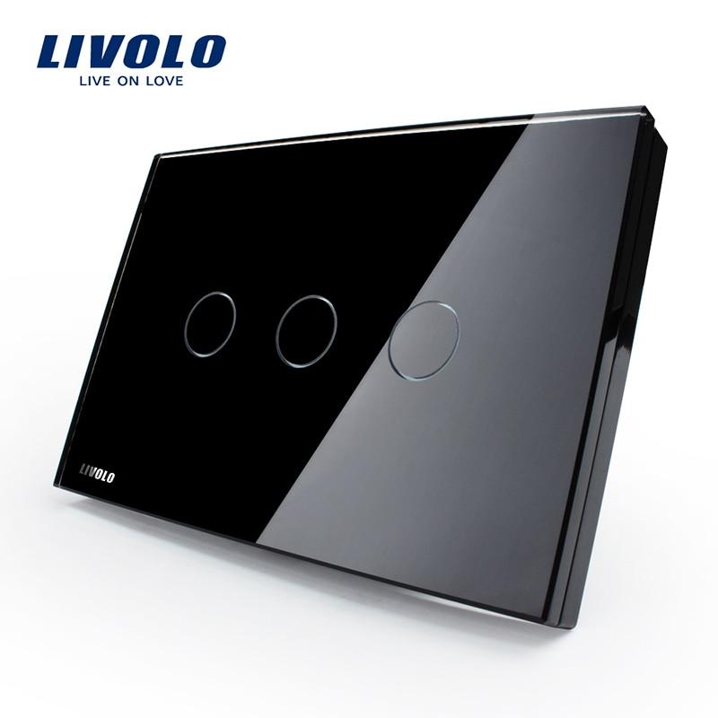 Fabricant, interrupteur mural LIVOLO, panneau en verre cristal noir, 110 ~ 250 V, interrupteur tactile à 3 bandes VL-C303-82, norme US