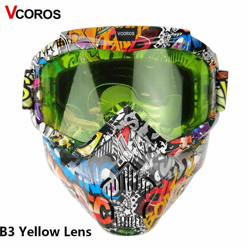VCOROS hełm z maską motocyklową modularna maska do otwartej twarzy retro klasyczne kaski odpinane googles z wiatroszczelną maską