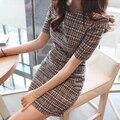 2016 del verano nuevas Mujeres Coreanas Delgado paquete hip temperamento vestido de manga corta casual vestido de las mujeres vestido de verano