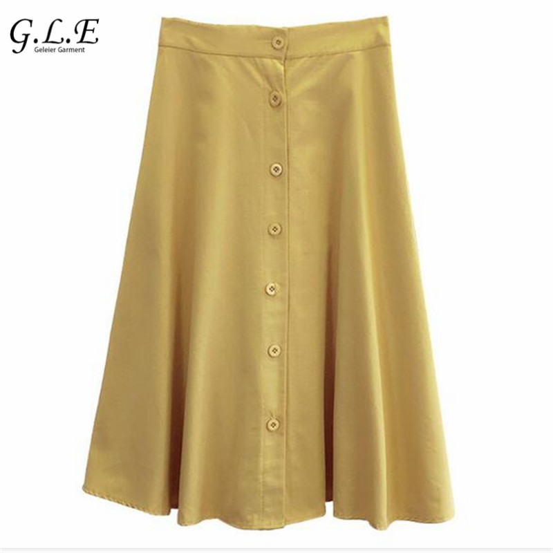 Lisa Women's Garments Store Geleier 2017 women skirts Button Retro skirt long saia midi faldas mujer High waist elasticity skirt Big Vintage maxi skirt