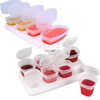 8 peça conjunto de blocos de bebê recipientes de alimentos para bebê brotar copos de armazenamento empilhável reutilizável copos com bandeja a20071