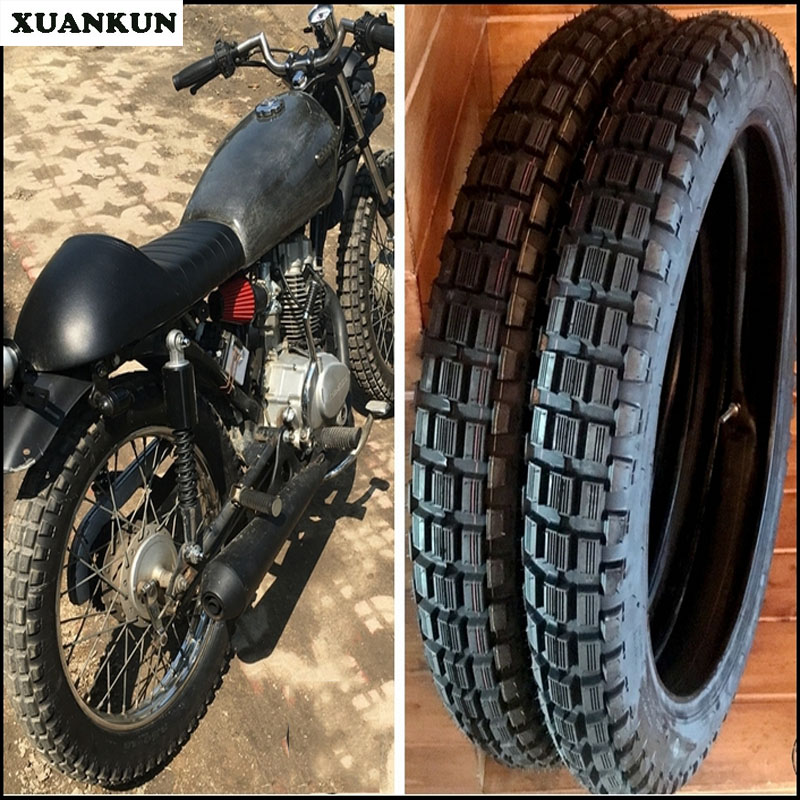 где купить XUANKUN Retro Motorcycle Trolley Tires 3.0-18, 3.5-18 Square Tires All Terrain Tires Containing Inner Tubes дешево