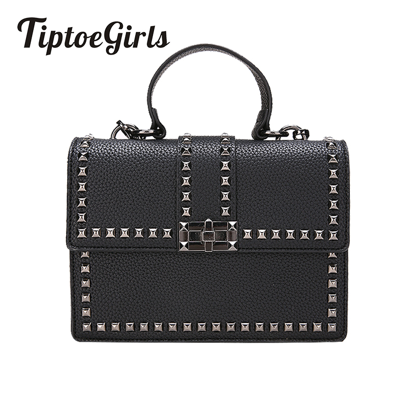 New Wide Shoulder Strap Korean Small Square Bag Fashion Rivet Ladies Bag Tide Handbag Retro Shoulder Diagonal Package 2018 new female korean version of the bag with a small square package side buckle shoulder messenger bag packet tide